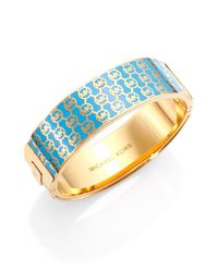 Michael Kors - Blue Monogram Logo Bangle Bracelet - Lyst