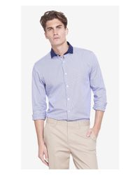 Express | Blue Modern Fit Striped Contrast Collar Shirt for Men | Lyst