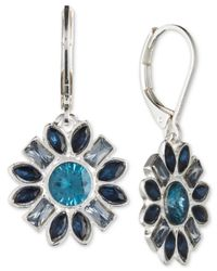 Nine West | Metallic Silver-tone Multi-crystal Floral Drop Earrings | Lyst
