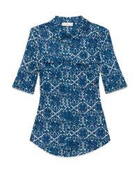 Tory Burch   Blue Floral Print T-shirt   Lyst