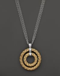 "Roberto Coin - Metallic 18K Yellow Gold Plated Sterling Silver Double Circle Pendant Necklace, 16"" - Lyst"