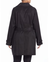 MICHAEL Michael Kors | Black Plus Double-breasted Trench Coat | Lyst