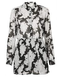 TOPSHOP - Multicolor Mono Floral Chiffon Shirt Button Up Playsuit By Oh My Love - Lyst