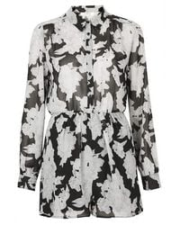 TOPSHOP | Multicolor Mono Floral Chiffon Shirt Button Up Playsuit By Oh My Love | Lyst