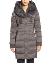 Elie Tahari | Gray 'paula' Genuine Rabbit Fur Trim Down Coat | Lyst