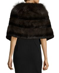 Gorski | Brown Rabbit Fur Shawl W/fox Fur Trim | Lyst