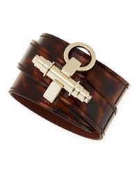 Givenchy - Brown Tortoise Leather Wrap Bracelet - Lyst