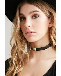 Forever 21 | Metallic Faux Leather And Metal Choker | Lyst