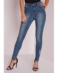 Missguided | Hustler Mid Rise Ripped Skinny Jeans Mottle Blue | Lyst
