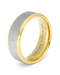 Swiss Legend | Metallic Men's Carbide And Gold Tone Tungsten Ip Ring for Men | Lyst