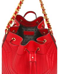Moschino - Red Quilted Biker Nappa Leather Bucket Bag - Lyst