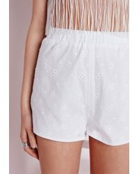 Missguided | Broderie Anglaise Shorts White | Lyst
