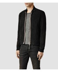 AllSaints - Black Touvier Leather Bomber Jacket for Men - Lyst