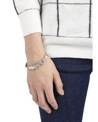 Michael Kors - Metallic Silver Tone Studded Buckle Bracelet - Lyst