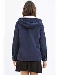 Forever 21 - Blue Hooded Plush Jacket - Lyst