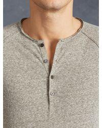 John Varvatos - Gray Long Sleeve Raglan Henley for Men - Lyst