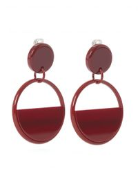 Marni - Large Red Retro Hoop Clip-on Earrings - Lyst