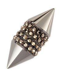 Givenchy | Metallic Single Dark Ruthenium Small Double Cone Magnetic Shark Earring With Crystals | Lyst