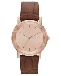 DKNY - Women'S Soho Brown Croc-Embossed Leather Strap Watch 34Mm Ny2245 - Lyst