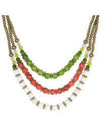 Aeravida - Classy Belle Triple Layer Multicolor Howlite Stone Brass Necklace - Lyst