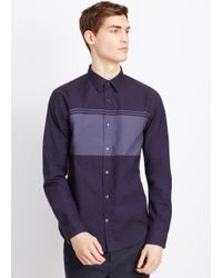 Vince | Gray Engineered Oxford Stripe Button Up for Men | Lyst