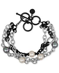 Majorica | White Two-tone Chain And Man-made Pearl Four-row Bracelet (10mm) | Lyst