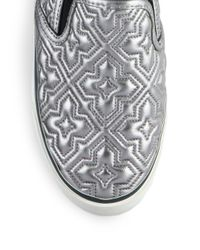 Tory Burch - Jesse Quilted Metallic Leather Sneakers - Lyst