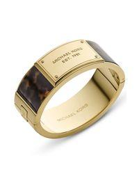 Michael Kors | Metallic Goldtone Tortoise Acetate Plaque Bangle Bracelet | Lyst