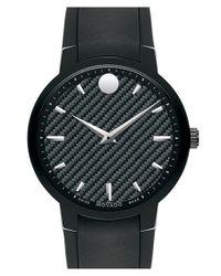 Movado - Black 'gravity' Carbon Fiber Dial Rubber Strap Watch for Men - Lyst