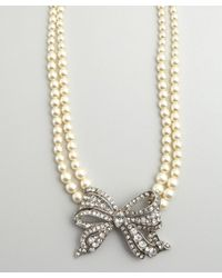 Ben-Amun - White Silver Crystal and Bow Pearl Choker Necklace - Lyst