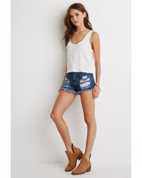 Forever 21 - Natural Button-front Tank - Lyst