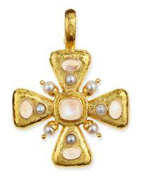 Elizabeth Locke | Metallic Moonstone & Pearl Maltese Cross Pendant | Lyst