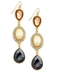 INC International Concepts - Metallic Gold-tone Crystal And Stone Triple Drop Earrings - Lyst