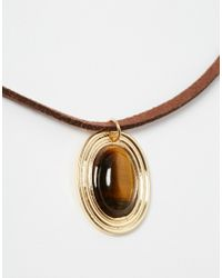 ASOS | Brown Semi Precious Suede And Stone Choker Necklace | Lyst