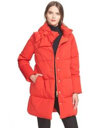 Kate Spade | Red Funnel Neck Puffer Coat | Lyst