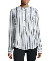 Isabel Marant - Black Skinny-striped Henley Blouse - Lyst