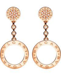 BVLGARI - Metallic - Reva 18ct Pink-gold And Diamond Earrings - Lyst