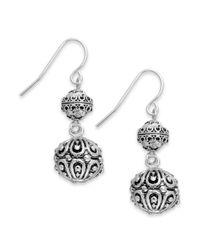 Lauren by Ralph Lauren - Metallic Silvertone Textured Bead Drop Earrings - Lyst