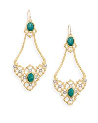 Alexis Bittar | Metallic Elements Muse D'ore Chrysocolla & Swarovski Crystal Woven Chandelier Drop Earrings | Lyst