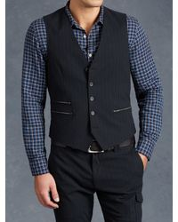 John Varvatos | Blue Zip Pocket Vest for Men | Lyst