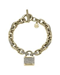 Michael Kors | Metallic Pavé Gold-tone Padlock Bracelet | Lyst