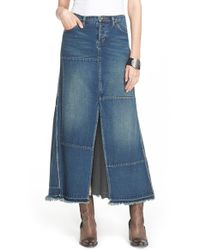 Free People - Blue Patchwork Denim Maxi Skirt - Lyst