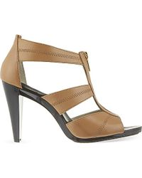 MICHAEL Michael Kors | Brown Berkley T-bar Heeled Sandals | Lyst