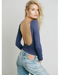 Free People | Blue Intimately Womens Solid Low Back Cami | Lyst