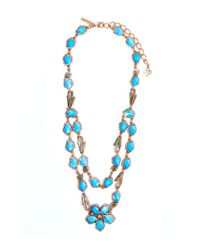 Oscar de la Renta | Light Blue Crystal Flower Necklace | Lyst