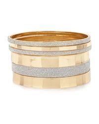 River Island - Metallic Gold Tone Glitter Bangle Pack - Lyst