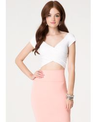 Bebe - White Off Shoulder Wrap Crop Top - Lyst