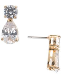 Anne Klein - Metallic Round And Pear-cut Crystal Stud Earrings - Lyst