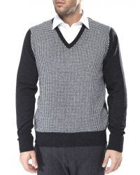 Jules B - Gray Houndstooth V-Neck Sweater for Men - Lyst