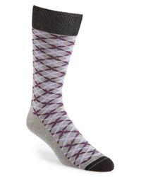 Hook + Albert - Gray 'jonquil' Socks - Purple for Men - Lyst